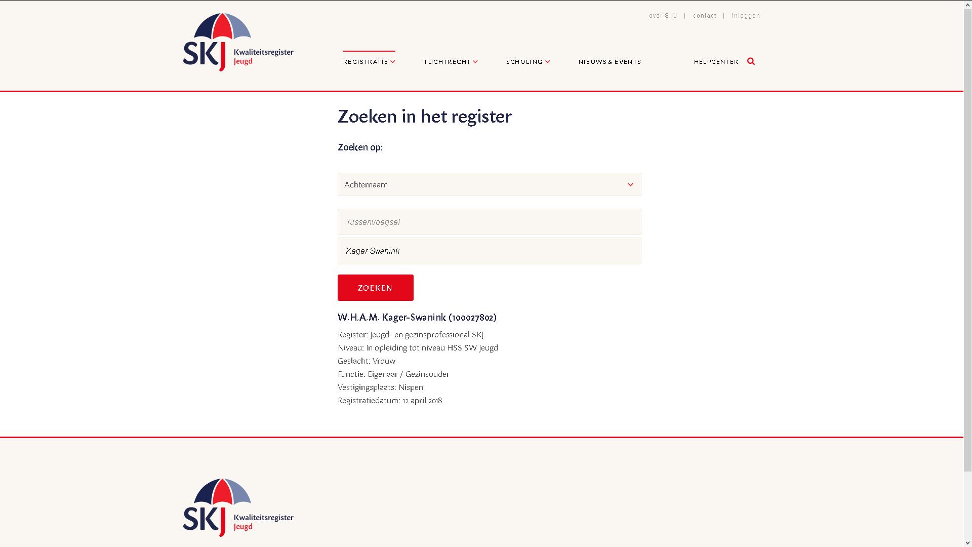 SKJ registratie kwaliteitsregister jeugd Willeanne Kager-Swanink